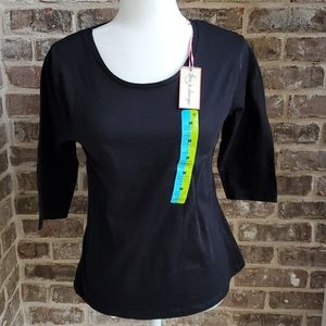 NWT! Love to Lounge Black 3/4 Sleeve Top